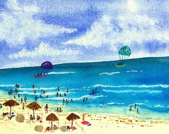 Watercolor Print, Watercolor Wall Art, Watercolor Painting, Watercolor seascape Print, archival print, Cancun parasailing, Giclee Print