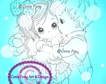 Digital Stamp, Digi Stamp, digistamp,  First Kiss (2 files) by Conie Fong, valentines, love, Christmas, coloring page, boy, girl, children