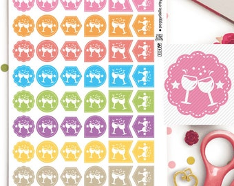 Night Out Dinner Dine Assorted Shapes Planner Stickers | Functional | Reminders | Chores | Hexagons | Flags | Teardrops