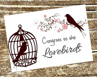 Wedding Card, Congratulations Card, Engagement Card, Love Card, Birds Card, Bird Cage Card, Floral Card, Bridal Card, Printable Card