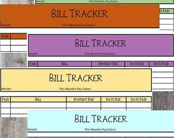 Bill Worksheet, Bill Tracker Sheet, Bill Tracker, Printable Bill Sheet, Budget Keeper Sheet, Budget Sheet, Monthly Bill Tracker