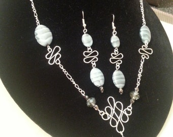 Sky Blue Swirl necklace and earing