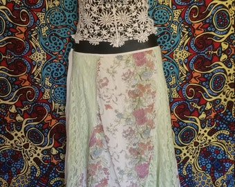 Gypsy Fairy Lace and Floral Sheer Skirt Elegant