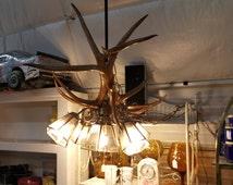 Beautiful large handmade Mule Deer Antler Chandelier. Vintage Estate Find