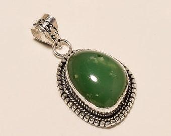 Green Apatite Pendant 925 sterling silver OVERLAY handmade Jewelry 8.9 GM S0702
