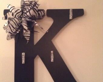 Monogrammed Letter-Black-Zebra print