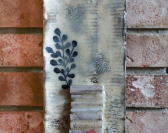 16 x 5 - Love Letters - Original Encaustic Mixed Media Piece