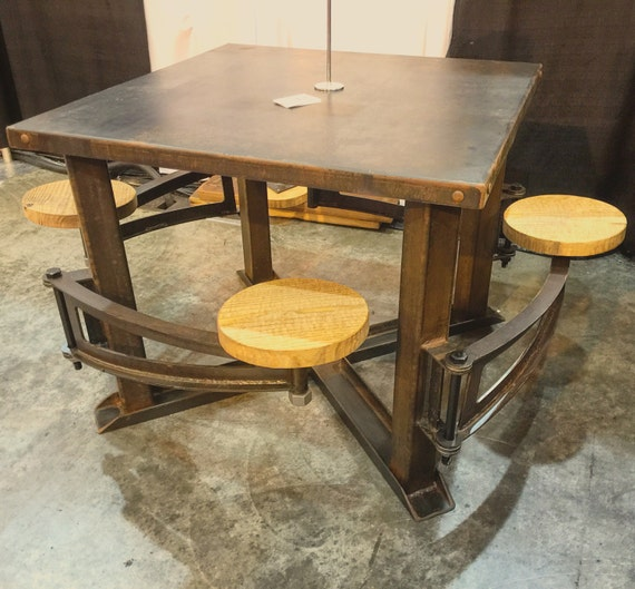 Industrial Swing Out Seat Wood Restaurant Dining Table