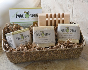 Natural Soap in Seagrass Gift Basket