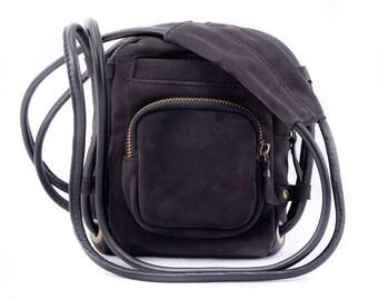 Tefia Mortise Small Suede Womens Shoulder Bag, Crossbody Bag, Black Color