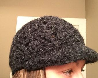 Dark Grey/Black Crochet Newsboy Hat--adult size