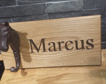 Personalised Oak Horse Stable Name plaque Hook