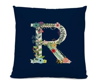 Initial Pillow - Floral Letter Pillow - Pillow with Letter R - Monogrammed Pillow - Custom Throw Pillow Flower Monogram Pillow