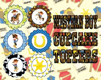 Western Boy Cupcake Toppers- INSTANT DOWNLOAD