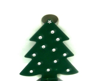 Christmas Tree sink decoration with clear crystals