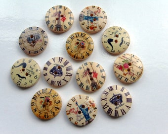 12 Clock Pattern Wooden Buttons  # EB50