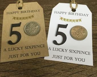 1967 Lucky sixpence 50th gift tag - 1 tag - handmade