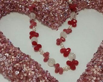 "Rose Quartz, Cherry Quartz & Pearl, Beaded Necklace, 18"" long, #P773"