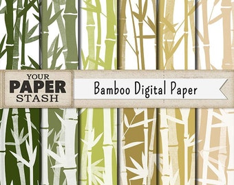 Bamboo Digital Paper, Bamboo Scrapbook Paper, Bamboo Backgrounds, Bamboo, Digital Paper Pack, Tropical, Vacation Scrapbook Page, Commercial