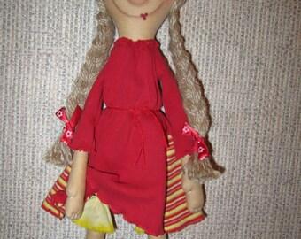 Beautiful Red Dress Handmade Doll For Children