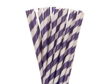 Paper Straws, Purple Paper Straws, Purple Striped Straws, Purple Party Decor, Striped Plum Paper Straws, Paper Straws Plum, Plum Paper Straw