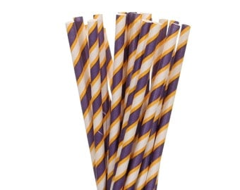 Paper Straws, Dark Purple and Yellow Striped Paper Straws, Graduation Paper Straws, School Party Supplies, Purple Gold Birthday Party Straws