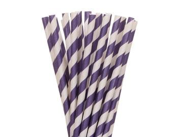 Paper Straws, Dark Purple Striped Paper Straws, Plum Striped Straws, Purple White Party Supplies, Birthday Party Straws, Plum Wedding Straws