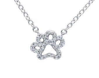 14K Diamond Paw Necklace