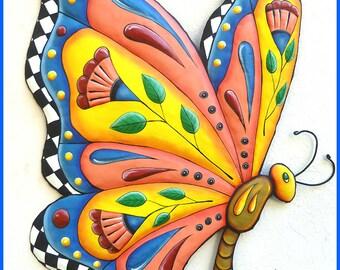 Butterfly Metal Wall Art - Metal Wall Hanging - Painted Metal Art, Outdoor Metal Art, Garden Decor - Butterflies, Tropical Design  J-905-GL