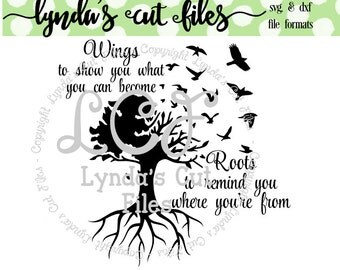 Wings and Roots SVG/DXF/EPS file