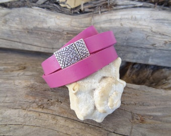 EXPRESS SHIPPING,Womens Wrap Leather Bracelet,Fuchsia Bracelet,Cuff. Bangle Bracelet,Magnetic Bracelet,Gifts for Her,Valentine's Gifts