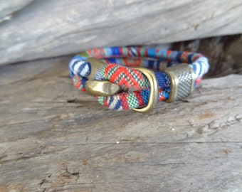 EXPRESS SHIPPING,Colorful Cotton Bracelet,Boho Bracelet,Antique Clasp Bracelet,Unisex Cuff Bracelet,Multicolor Ethnic Bracelet,Gift for Her