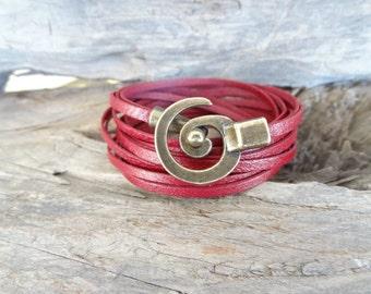 EXPRESS SHIPPING,Wrap Burgundy Leather Bracelet,Antique Brass Spiral Bracelet,Multi-strand Leather Cuff.Bangle Bracelet,Christmas Gifts