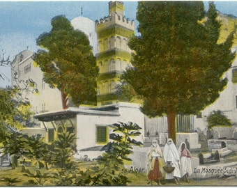 Alger ALGERIA La Mosquee Sidi-Abderhaman VINTAGE POSTCARD Carte Postale