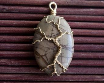 Wire wrapped pendant tree on semi-precious jasper