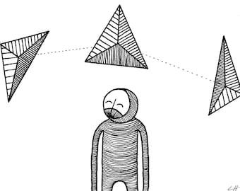 Art Print / Black and White Illustration / Manifest / Balance