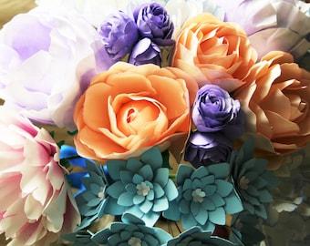 DIY Paper Flower Bouquet Templates - Wilhelmina