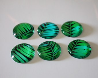 FREE SHIPPING AUS - Green Palm Leaf Print Glass Magnets - Tropical Print - 6 Piece Magnet Set - Super Strong