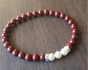 Swarovki Pearl Bracelet. Red Swarovski Bracelet. Maroon Swarovski Pearl Bracelet. Bridesmaid Swarovki Bracelet. Dark Red and White Bracelet