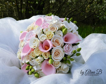Wedding Bouquet of polymer clay . Handmade Flowers