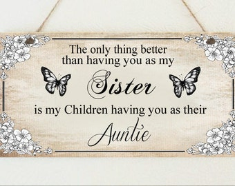 Beautiful Hand Made Plaque Special Sister Auntie Aunt Aunty Gift Sign Present