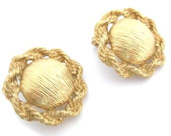 Vintage 1970s Earrings   Monet Earrings   Gold Earrings   Statement Earrings   Clip Earrings   Round Earrings   Rope Earrings   Clip ons