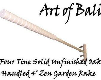 "Full Size 48"" 4 tine (unstained) Zen Garden Rake - Authentic Art of Bali brand Zen Garden Rakes"