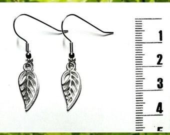 Little Silver Leaf Charm Earrings