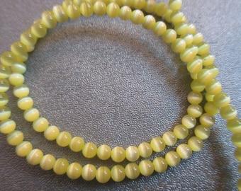 Yellow Cat's Eye Round 3mm Beads 126pcs