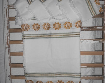 Large Vintage Table Cloth with Matching Napkins - Large White with Green and Gold Designs Tablecloth - Ready to Ship