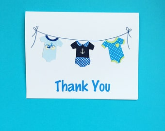 Baby Onesies Thank You Notecards & Envelopes, Set of 10, Baby Shower, Baby Gift