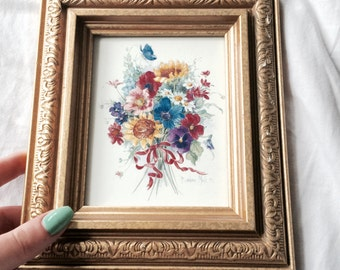 Floral Art // Floral Wall Art // Gold Picture Frame // Floral Home Decor (B1)
