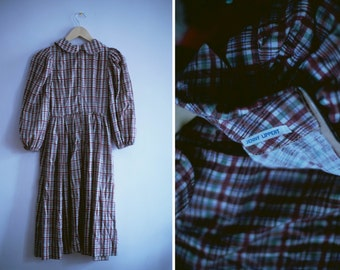 70s Plaid Prairie Women's Dress with Peter Pan Collar