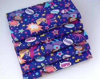 Lunch Box Napkins, Set of 5, Super Duper Girl Super Hero, Cloth Napkins, Stocking Stuffers, Reusable, School Lunch Napkins by Sew4MyLoves
